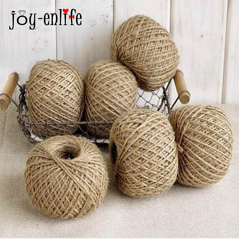 JOY-ENLIFE 30Meter Natural Jute Twine 2mm Rustik Bröllopsdekoration Twisted Tape Cord Events Party Supplies / Gift Wrapping