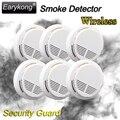 Venta caliente Wireless Sensor Detector de Humo Alarma de Incendio para el Hogar Interior Jardín De Seguridad Seguridad 6 unids