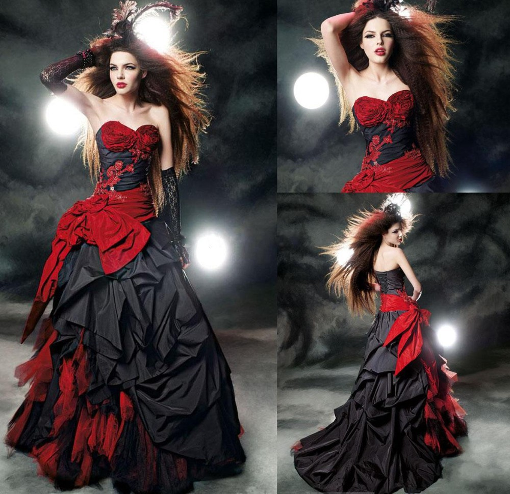 Gothic wedding shop - Gothic Wedding Dresses Sweetheart Floral Bustier Pick Up Taffeta Black And Red Bow Tulle Gorgeous Bridal Gowns Corset Back 2016