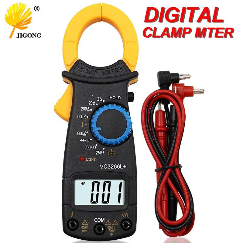 DT3266 + Digital abrazadera de corriente amperímetro AC DC voltímetro probador eléctrico multímetro de la abrazadera de FireWire identificar Mini medidor pinza
