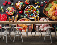 [Self Adhesive] 3D Candy Food Dining Table 157 Wall Paper mural Wall Print Decal Wall Murals