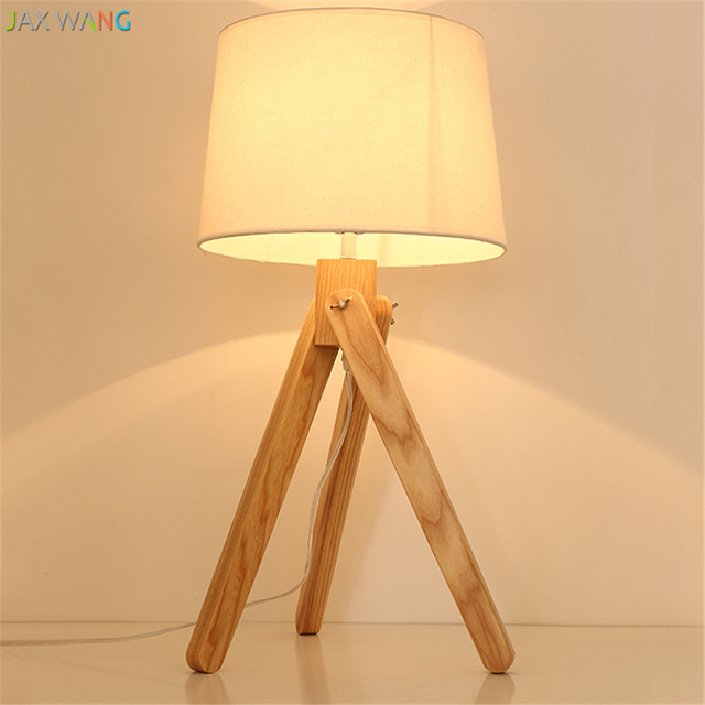 JW Nordic Modern Wooden Tripod Table Lamps Wood Desk Lights For Living Room  Bedroom Bedside Reading