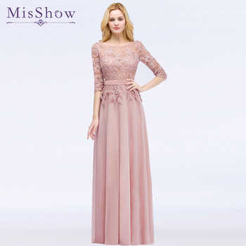 2019 Elegant Prom Dresses with sleeves Navy Blue A Line Party Dresses Vestido De Festa Beading pink Long prom dress Formal Gowns - DISCOUNT ITEM  28% OFF All Category