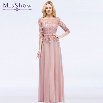 Misshow Elegant Prom Dresses 2020 Long Pink Chiffon Gown Lace Applique Pearl Half Sleeve vestidos de gala 2019 - discount item  26% OFF Special Occasion Dresses