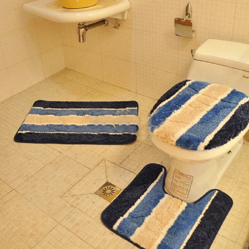 Peachy Luxury Blue And White Chenille 3 Pc Toilet Rug Bathroom Mat Andrewgaddart Wooden Chair Designs For Living Room Andrewgaddartcom