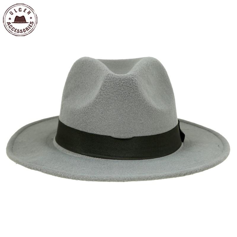 Vintage unisex Wolle Jazz Hüte große Krempe Filz Cloche Cowboy - Bekleidungszubehör - Foto 6