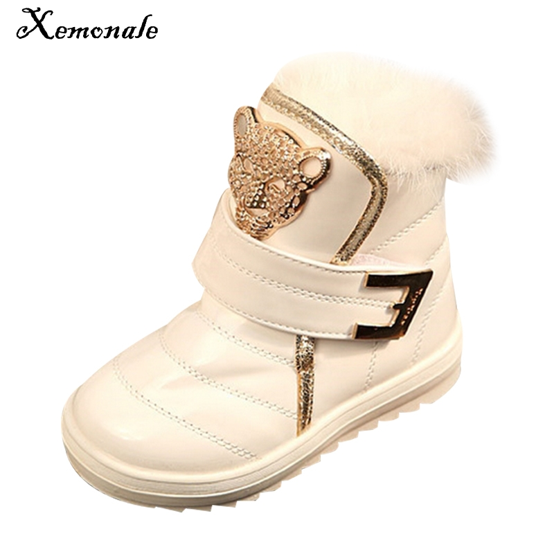 Xemonale New Children Boots Fashion Fur Baby Girls Snow Boots Waterproof leather Booties Female Child Winter Warm Shoes For Kids 2018 new girls fur one snow boots winter 2018 new children s net red children s shoes parent child warm cotton shoes lace