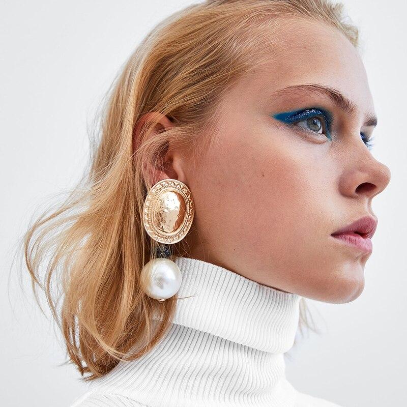 867f7dbb8d07 JURAN moda Vintage simulado perla declaración pendientes mujer boda cuelgan pendientes  de gota geométrica Maxi joyería ZA