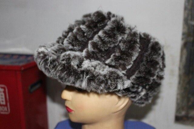 Меховая шапка женская рекс кролика волосы осенью и зимой кролика рекс кожи оголовье crownless visor hat зима теплая