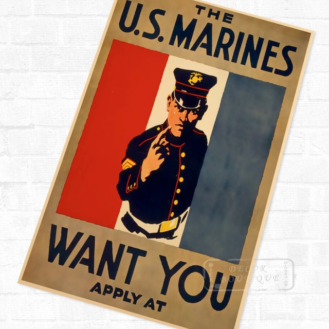 the us marines want you wwi ww1 propaganda poster vintage retro canvas painting diy wall stickers