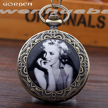 Antique Quartz Pocket Watches Celebrity Marilyn Monroe Pocket Watches Analog With Chain Necklace Exquisite Women's Watches Gifts