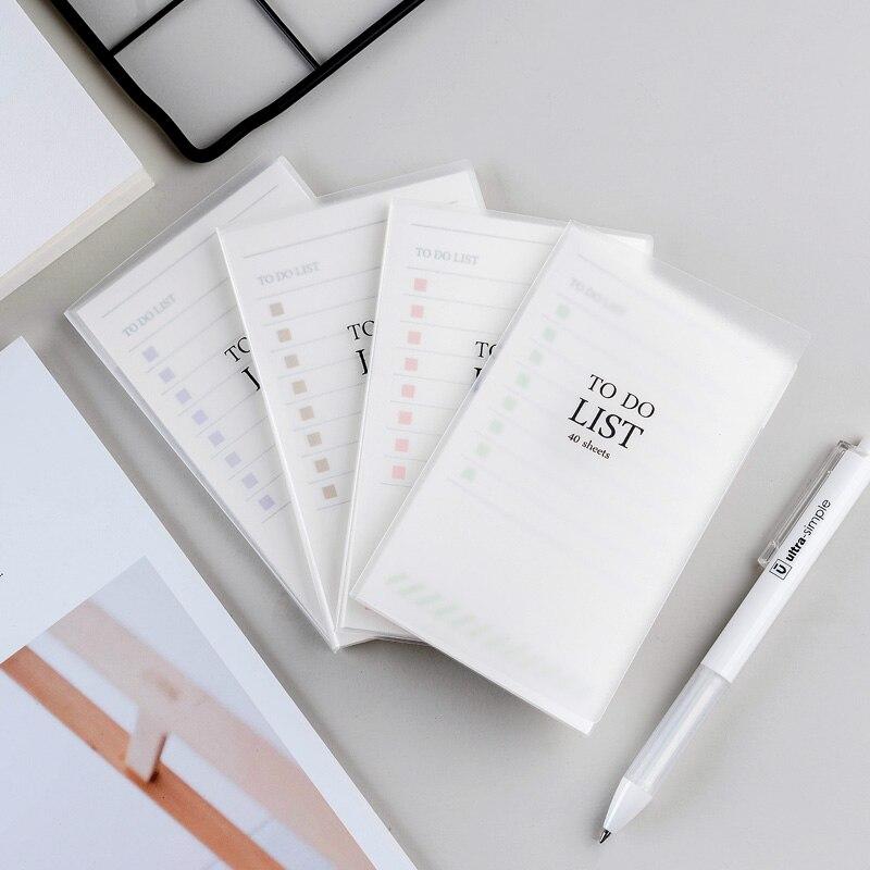 Bloco de memória auto-adesivo para fazer a lista 40 folhas 75*125mm 3*5 polegadas escritório escola nota com plasitc capa dura pequeno planejador