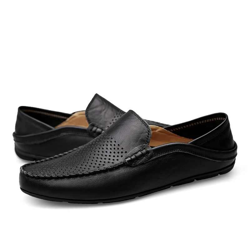 DUDELI  big size 38-46 slip on casual men loafers spring and autumn mens moccasins shoes genuine leather men's flats shoes New