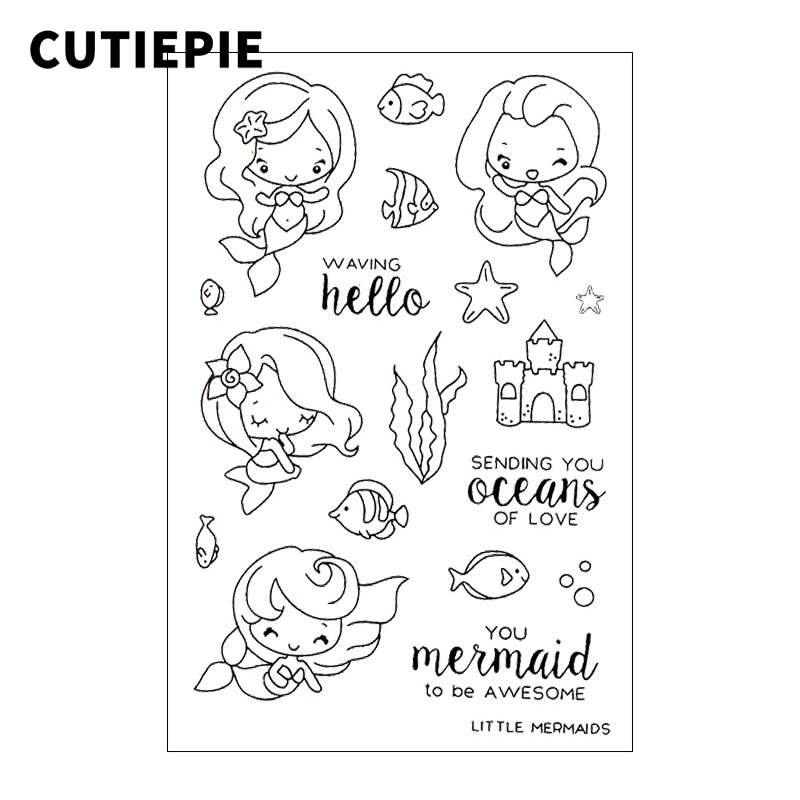 Awesome Mermaid Princess Transparent Clear Stamps for Scrapbooking DIY Silicone Seals Photo Album Embossing Folder Stencil Decor pig silicone clear stamp metal cutting dies stencil frame scrapbook album decor clear stamps scrapbooking accessories