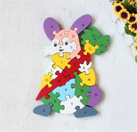 New Wooden Toy Animal Cartoon Color Rabbit 26 Piece English Letters And Digital Cognitive Wooden Jigsaw