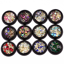 DIY 3D nail art Bling diamond deco Colorful Mixed Micro Beads Gemstone Circle Glitter Crystal AB Non Hotfix Diamond Rhinestones
