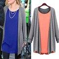 2016 women autumn fashion Chiffon Cotton tops Long Style O-Neck Full Sleeve Solid Casual T-shirt plus size XL/XXL/XXXL/4XL