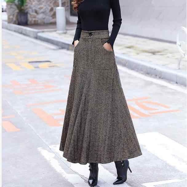 Saias de lã de cintura alta das mulheres inverno 2019 streewear lã longa saia plissada com cinto senhoras saia longa preto df942