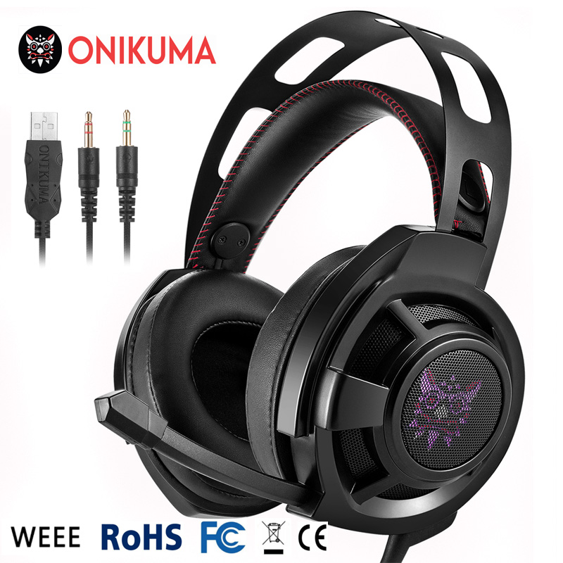 3.5mm Gaming Headset Over Ear Stereo Bass Gaming Headphone with Volume Control LED Light Microphone for PC Mobile Phones M190 g1100 3 5mm pro gaming headset headphone for ps4 laptop crack pattern led led blue black red white