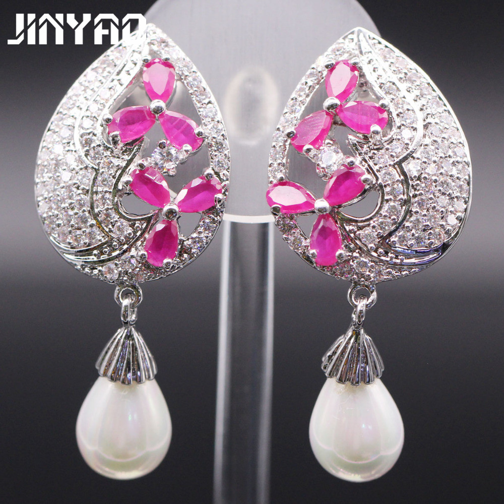 Champagne Gold Color Pearl Flower Red  Aaa Zircon Earrings For
