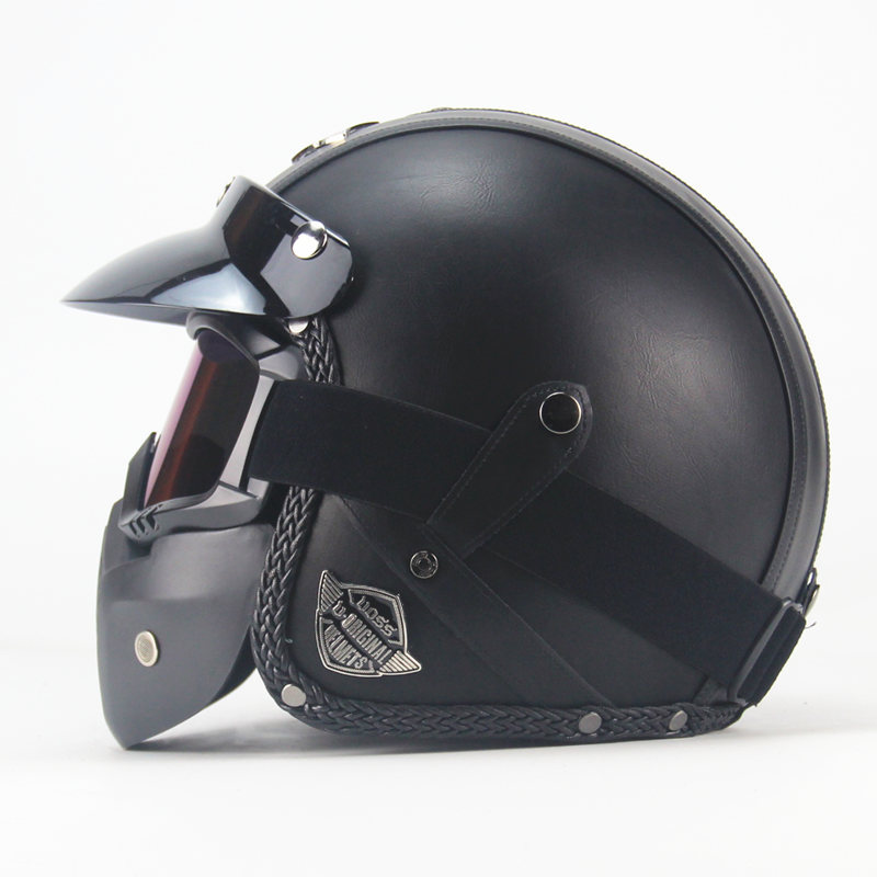 NEWEST Black Adult Open Face Half PU Leather Helmet Harley Moto Motorcycle Helmet vintage Motorcycle Motorbike Vespa with mask black adult open face half pu leather helmet harley moto motorcycle helmet vintage motorcycle motorbike vespa with mask