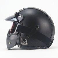 NEWEST Black Adult Open Face Half PU Leather Helmet Harley Moto Motorcycle Helmet vintage Motorcycle Motorbike Vespa with mask