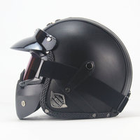 VOSS Black Adult Open Face Half Leather Helmet Harley Moto Motorcycle Helmet Vintage Motorcycle Motorbike Vespa