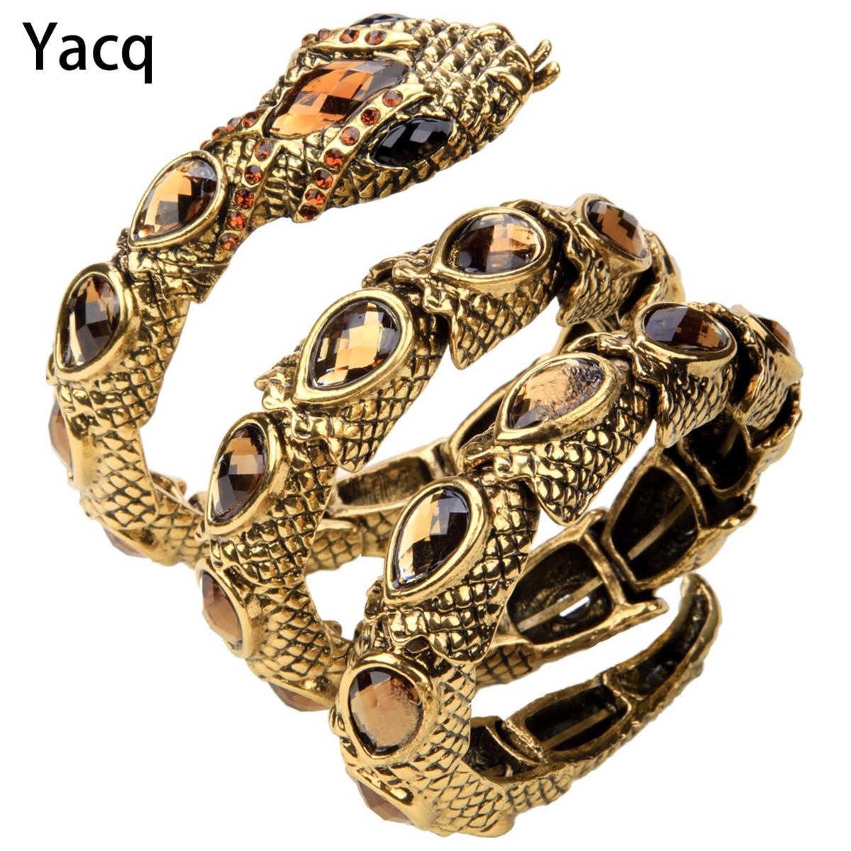 YACQ Extensible Serpent Bracelet Brassard Bras Manchette Femmes Punk Rock Cristal Bracelet Bijoux Or Argent Couleur Dropshipping A32