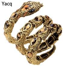 Yacq стрейч змея браслет верхний манжета Для женщин панк-рок кристалл браслет ювелирных изделий цвета: золотистый, серебристый Цвет дропшиппинг a32