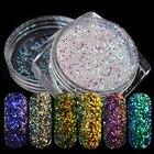 6 Bottles Mermaid Holographic Nail Glitter Powder Shining Laser Nail Glitter Dust Powder DIY Nail Art Decorations Set SAFC01-06