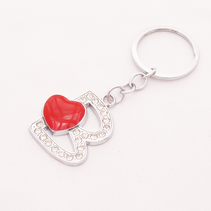Free Shipping Fashionable Letter Jewelry Heart Key Chains With Rhinestones Items Popular Metal B Ring Wholesale In From