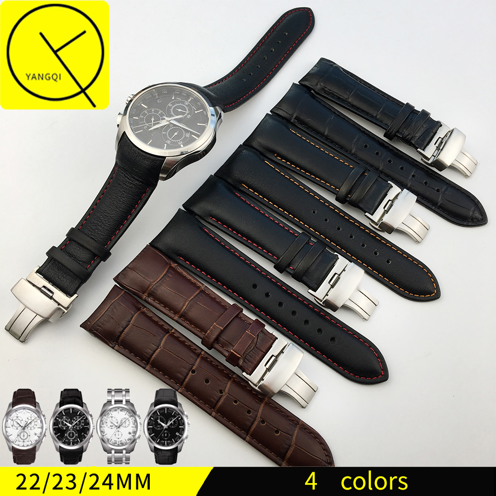 YQ Genuine Calf Leather Watchband Watch Band Strap for Tissot COUTURIER T035 T035617/627 T035439 Watch Band 22/23/24mm + TOOLS high quality genuine calf hide leather for diesel watch strap band for dz7257 dz7345 27mm 28mm 30mm 32mm 34mm man watchband tool