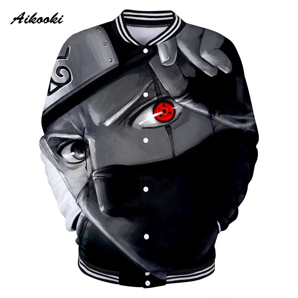 Aikooki 3D Naruto Baseball Jacket Women/Men 3D Print Cotton Jackets Fashion Harajuku Red Eye Design Boys/Girls Sweatshirt Tops