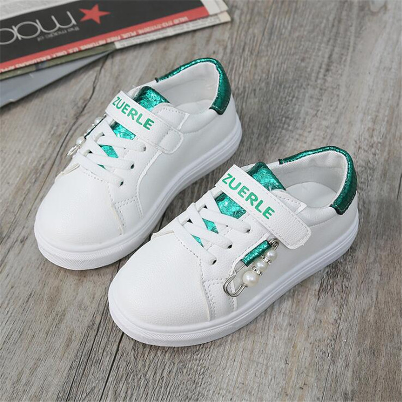 Kids Shoes For Girl Child Sports Shoes Girls Sneakers PU Leather 2019 NEW Spring Autumn Fashion Pearl Children Casual Shoes