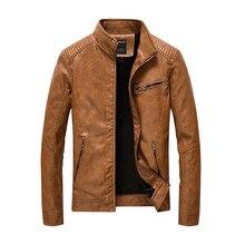 2017New PU leather jacket autumn winter men's leather jacket washed and fleece motorcycle leather jacket men fashion casual coat
