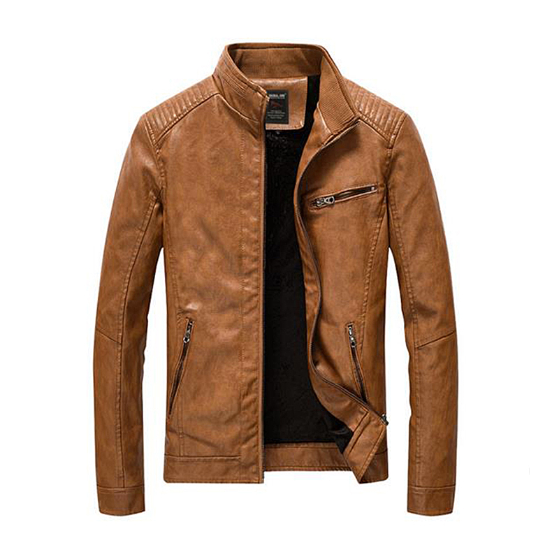 2019 New PU Leather Jacket Streetwear Men's Leather Jacket Clothes Washed Fleece Motorcycle Leather Jacket Fashion Casual Coat
