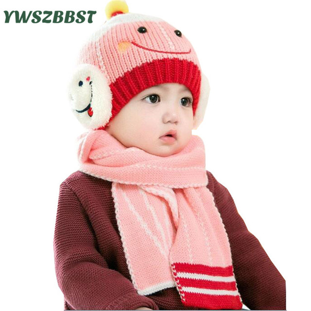 Cartoon Smile Knit Baby Hats for Girls Baby Caps for Boys Crochet Autumn  Winter Children Kids Hat Scarf sets for 6 to 24 months c8da8a0ce727