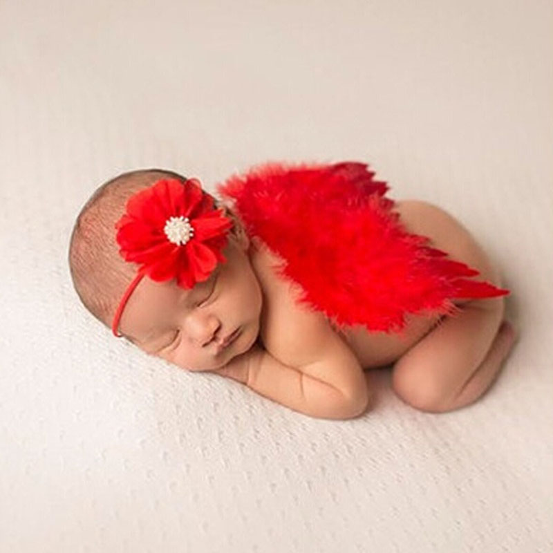 1 Sets 2017 gril Birthday Gifts Kid Girl Lace Chiffon Red Flowers Headband & Feather Angel Wings Photograph Props