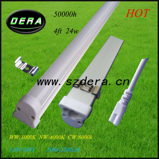 24W led dimmable,1.2m T5 fluorescent light fixtures 3pin 110V/240V ...