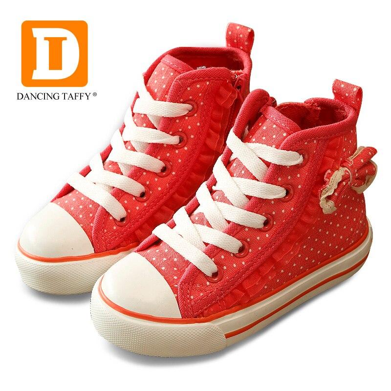 레이스 보우 소녀 신발 브랜드 캐주얼 어린이 신발 소녀 도트 캔버스 스포츠 고무 새로운 2019 가을 공주 어린이 스니커즈