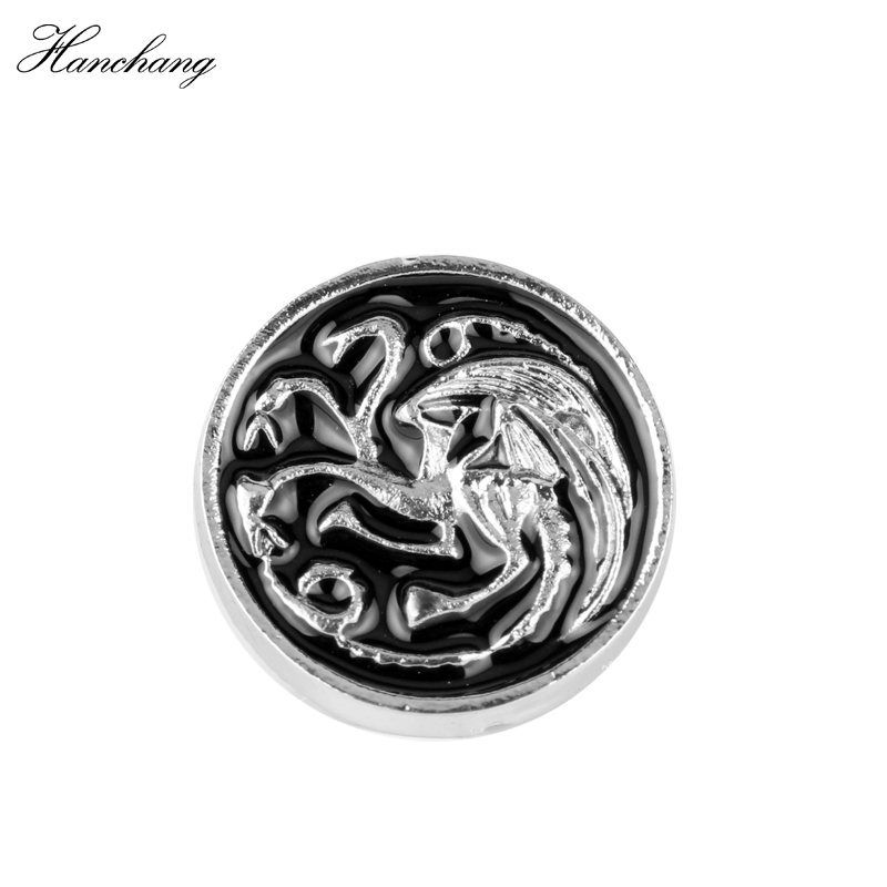 HANCHANG Game Of Thrones Stark Brooch Song Of Ice And Fire Vintage Antique Silver Drangon Brooch Pin For Men Women Drop Shipping
