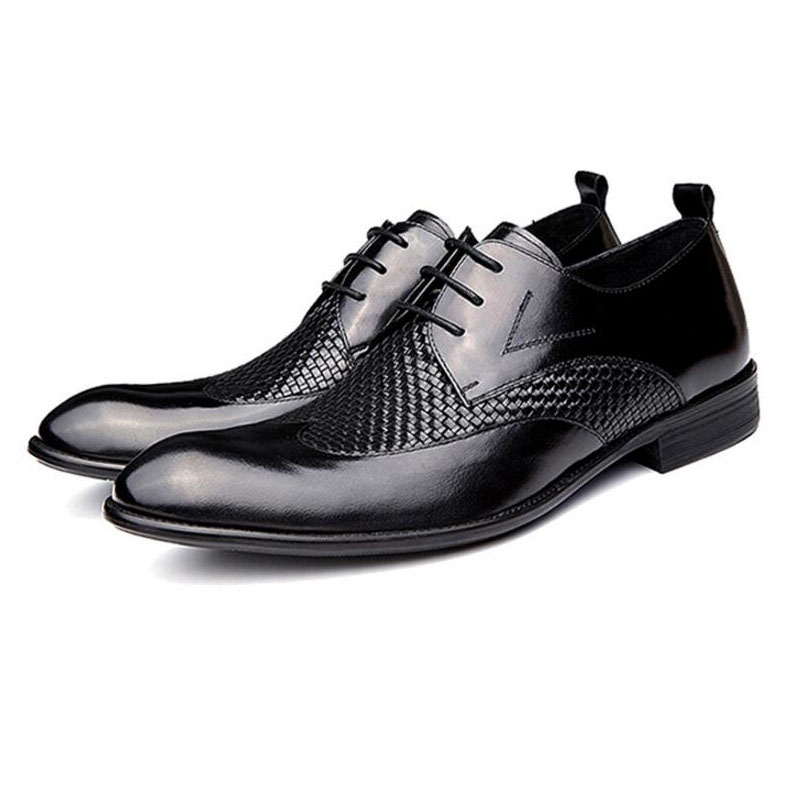 Men Shoes Genuine Leather Wedding Dress Shoes Casual Flats Shoes Evening Dress Brand Leather Black Oxford