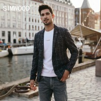 SIMWOOD 2018 Blazers Men Smart Casual Plaid Suits Woolen Coats Fashion Slim Jacket High Quality Blazer Masculino Vestidos 180417