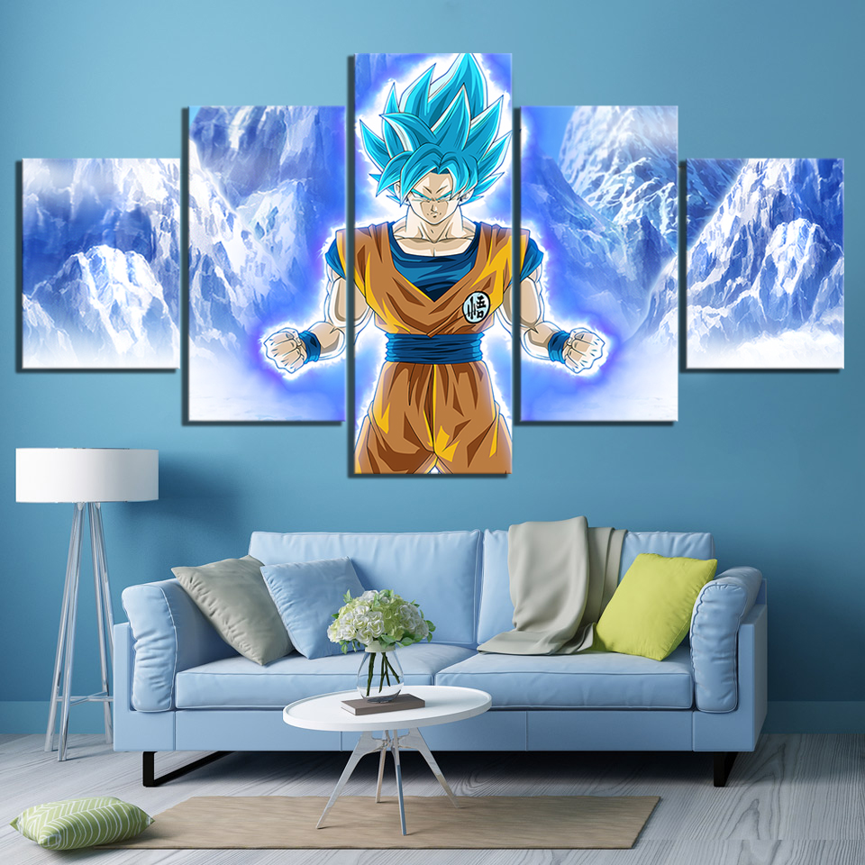 Us 6 12 49 Off 5 Piece Cartoon Pictures Super Saiyan Blue Goku Poster Paintings Dragon Ball Anime Poster Canvas Paintings For Bedroom Wall Art In