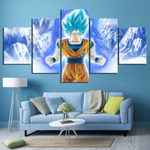 5 Piece Cartoon Pictures Super Saiyan Blue Goku Poster Paintings Dragon Ball Anime Canvas for Bedroom Wall Art