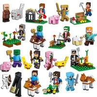 16Pcs Lot Minecraft Steve Alex Zombie Enderman Reuben Skeleton Weapon Action Figures Toys Compatible With Blocks