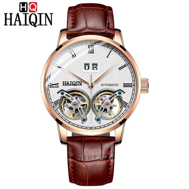 HAIQIN 2018 business watch men Automatic Luminous clock men Tourbillon waterproof Mechanical watch top brand relogio masculino