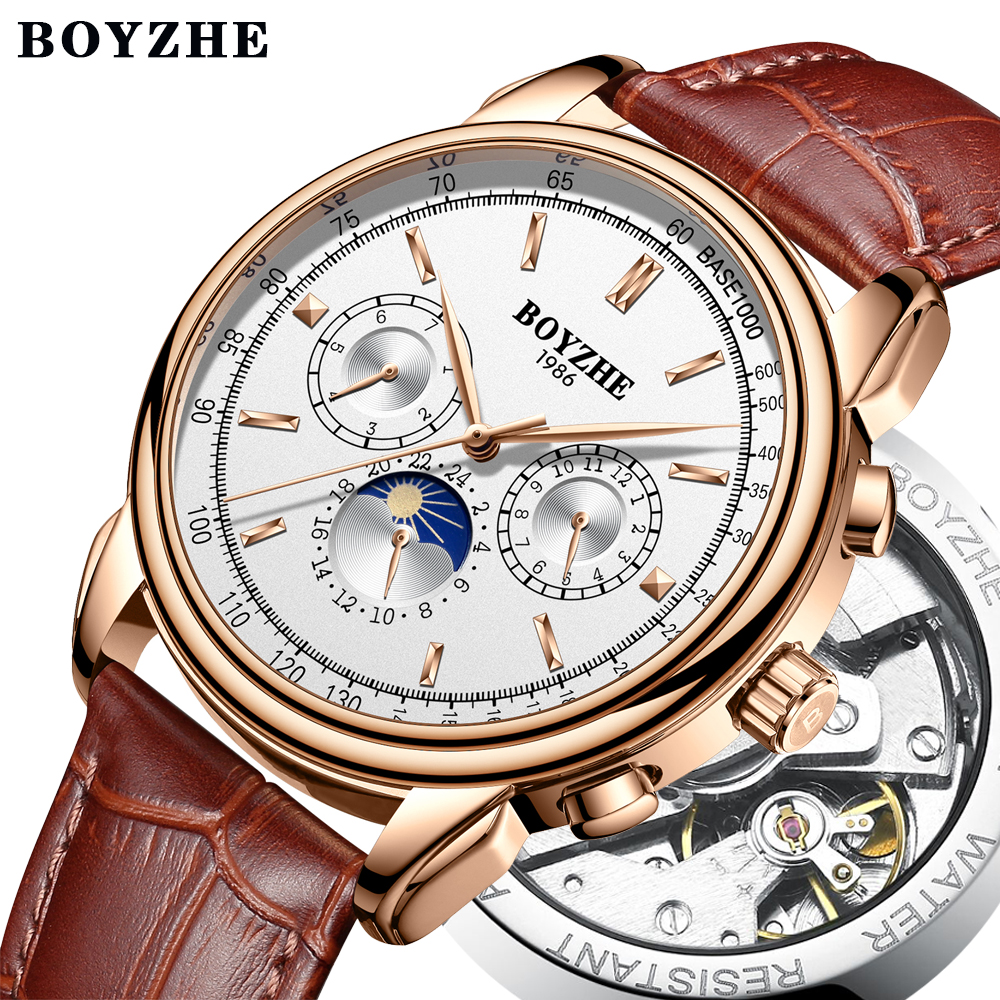 Fashion Mechanical Watch Men Moon Phase Genuine Leather Hollow Automatic Business Watch Men relogio masculino erkek kol saati tomi fashion casual men s rounded bussines retro design leather band watch relogio masculino erkek kol saati watch men