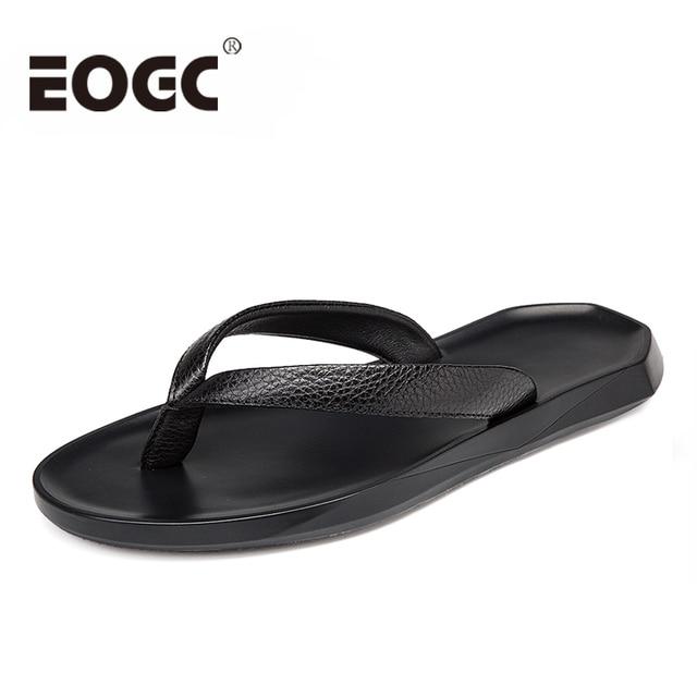 7f29b980b263 Fashion Genuine leather Men s flip-flops Outdoor waterproof Beach sandals  Summer Men Slippers Zapatos De Hombre plus size 37-45