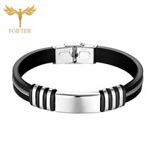 Silver Stainless Steel Cuff Bangle Black Silicone Silver Hollow Chain Woman Accessories Jewelry Bracelet Jonc new fashion punk jewelry men bracelet stainless steel cuff bangle silver hand chain black silicone wristband